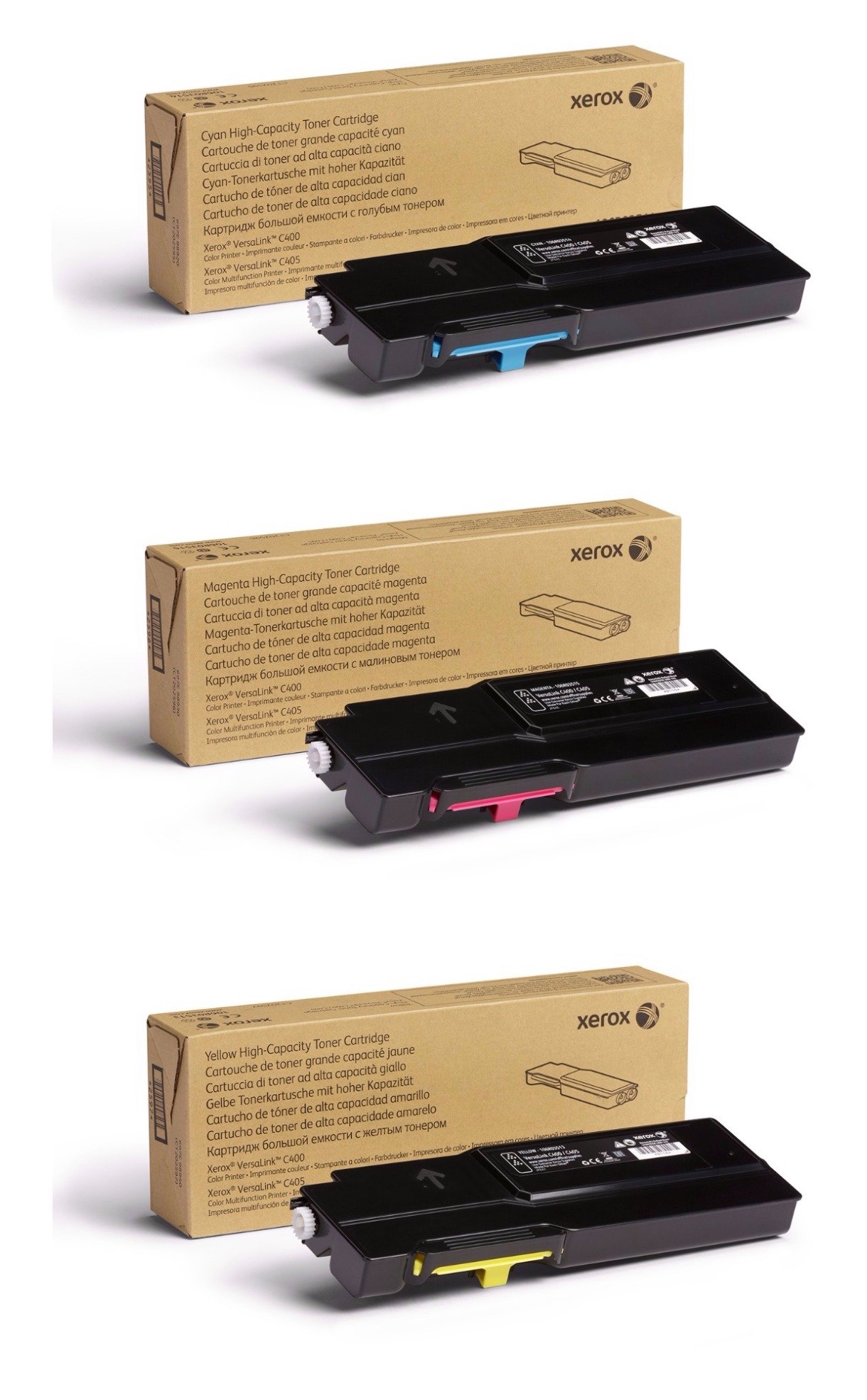 Xerox Cyan/Magenta/Yellow High Capacity Toner Cartridge Set (106R03513, 106R03514, 106R03515) - 4800 Pages - for use in VersaLink C400/C405