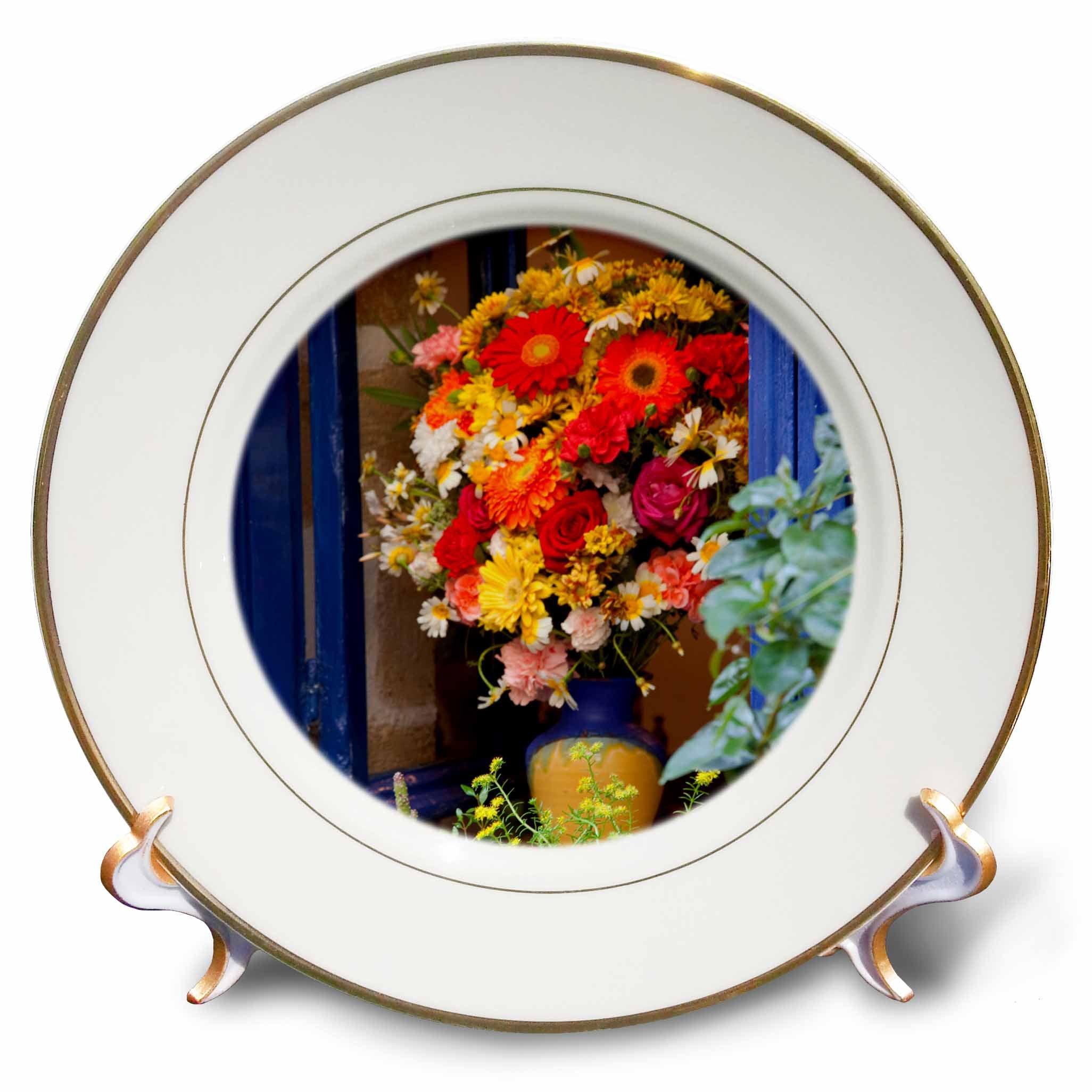 3dRose Danita Delimont - Flowers - Greece, Crete, Chania, Window in Chania - 8 inch Porcelain Plate (cp_277430_1)