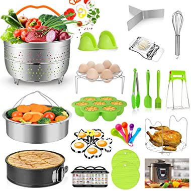 MIBOTE 27pcs Accessories Set for Instant Pot 5,6,8 Qt, 2 Steamer Baskets, Springform Pan, Egg Steamer Rack, Egg Bites Mold, Kitchen Tong, Silicone Pad, Oven Mitts, Cheat Sheet Magnet, Recipe and etc