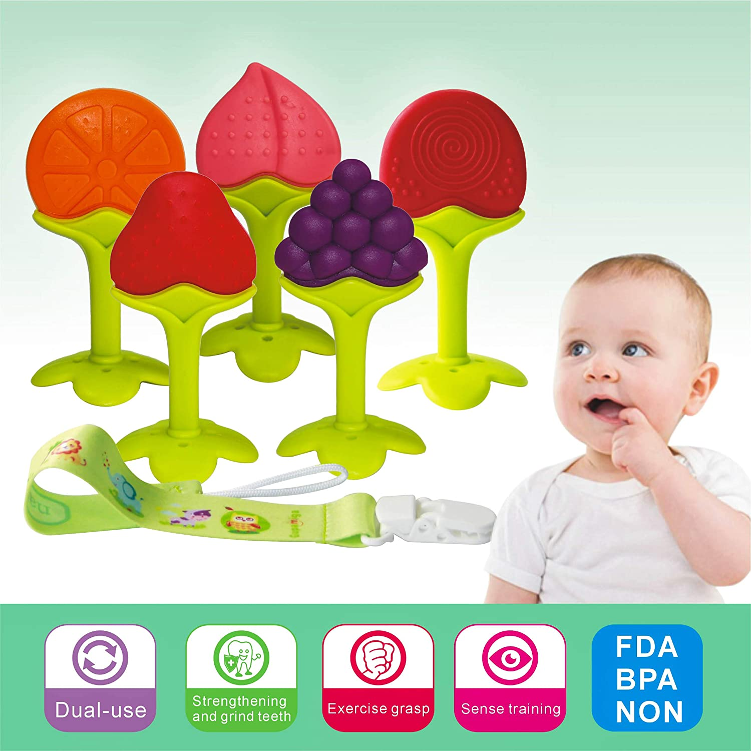 Baby Teething Toys BPA Free Soft Silicone Baby Fruit Teethers Toys