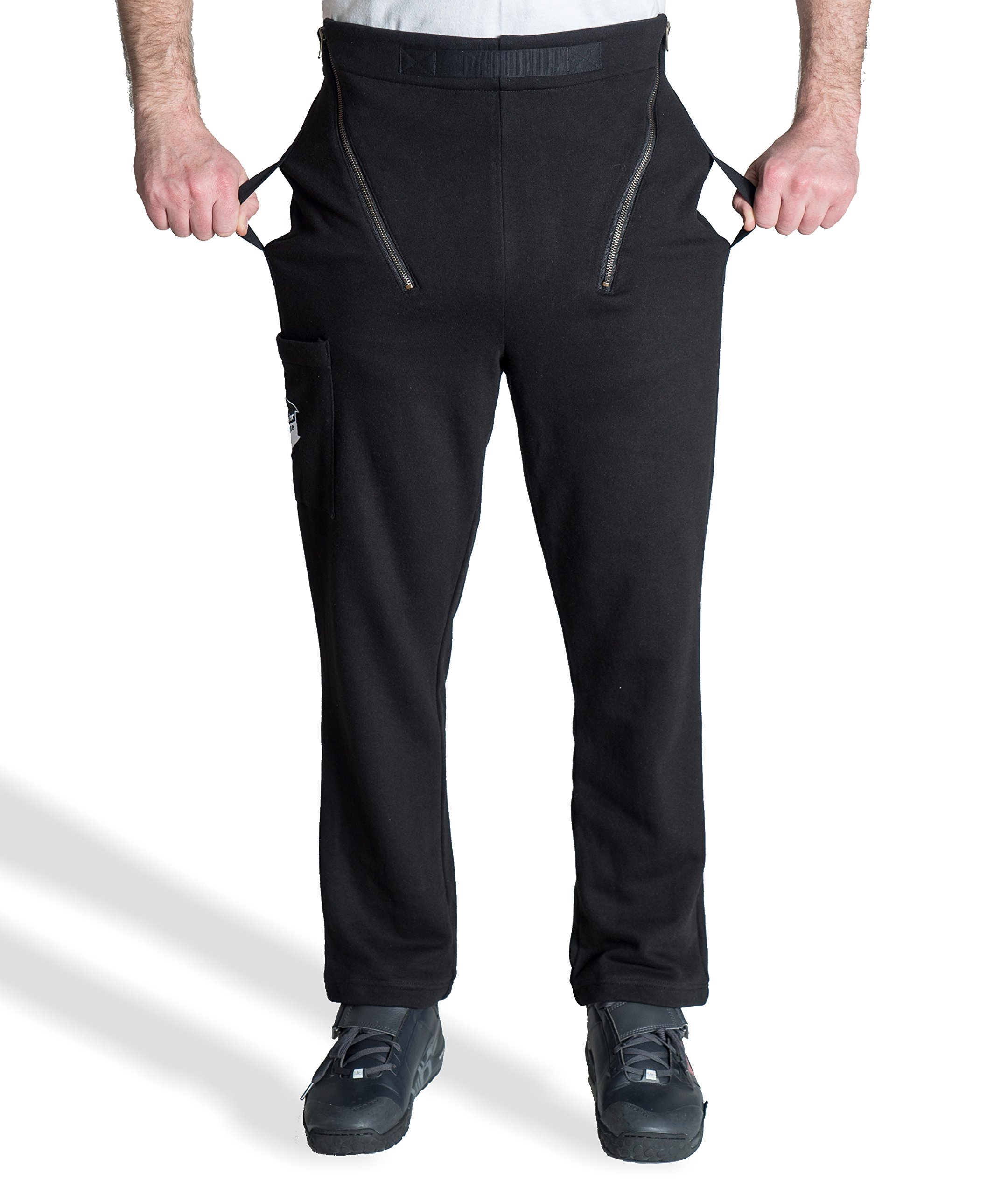 "TransferPants - Transfer Disabled Patient Easily and Safely - Fleece, Black (XL (40-42"" Waist))"