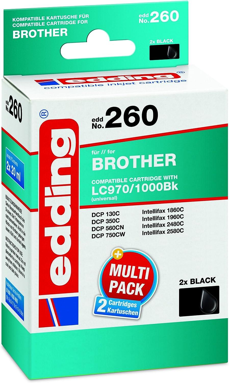 Edding 18 260 Druckerpatrone Edd 260 Ersetzt Brother Lc970bk Lc1000bk 2 Er Pack Schwarz Bürobedarf Schreibwaren