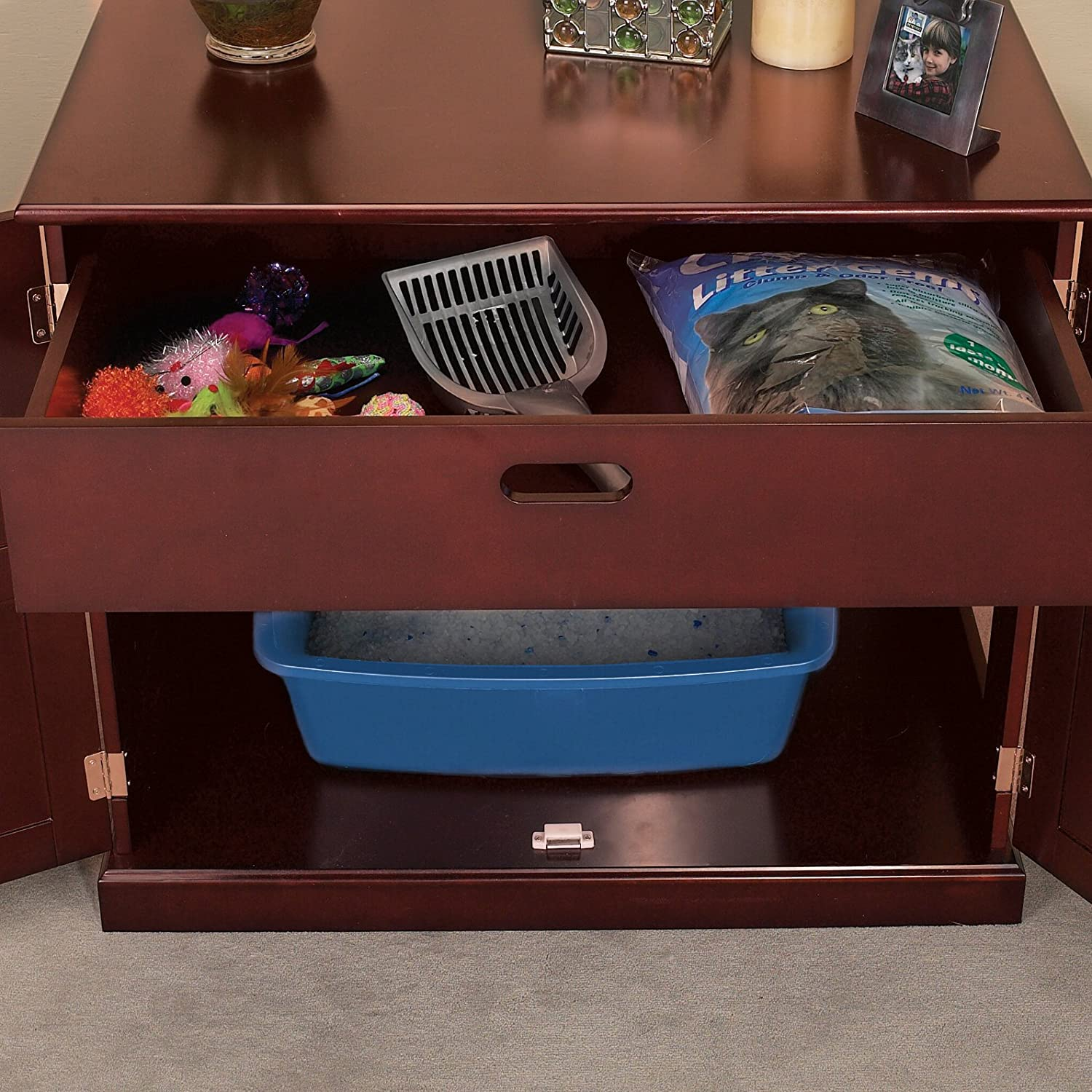 meow town mdf litter box. Amazon.com : Meow Town Concord Cat Litter Cabinet, Mahogany-Finished Concealer Pet Supplies Mdf Box M