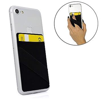 MyGadget Funda Cartera con 1 Bolsillo + Elástico para Móvil Smartphone - Adhesiva Universal - Suave Estuche para Tarjetas de Crédito Bloqueo RFID - ...
