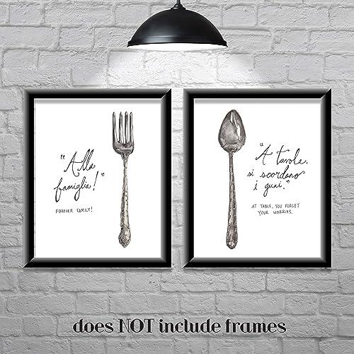 Kitchen Wall Decor-Farmhouse Decor-Italian Sayings-Forever Family-Set of 2  8x10 Prints