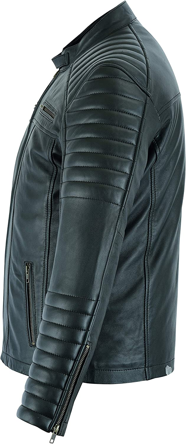 Mens Casual Biker Fashion Leather Soft Touch Jacket in 5 Colours Moto Style