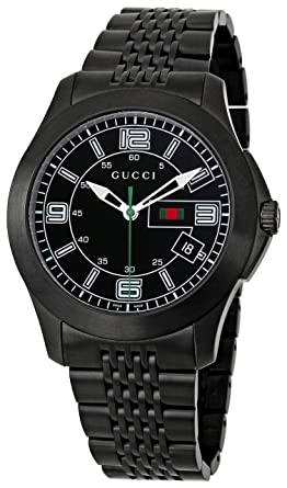 61c6b144277 Image Unavailable. Image not available for. Color  GUCCI Men s YA126202  Classic Black Dial Watch