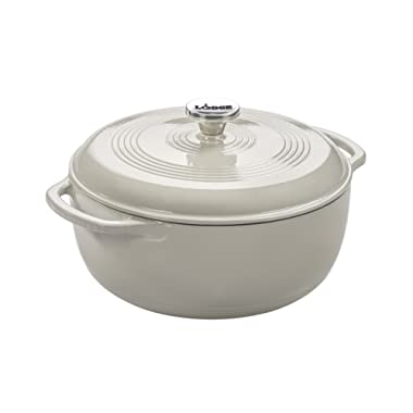 Lodge 6 Quart Enameled Cast Iron Dutch Oven. White Enamel Dutch Oven (Oyster White)