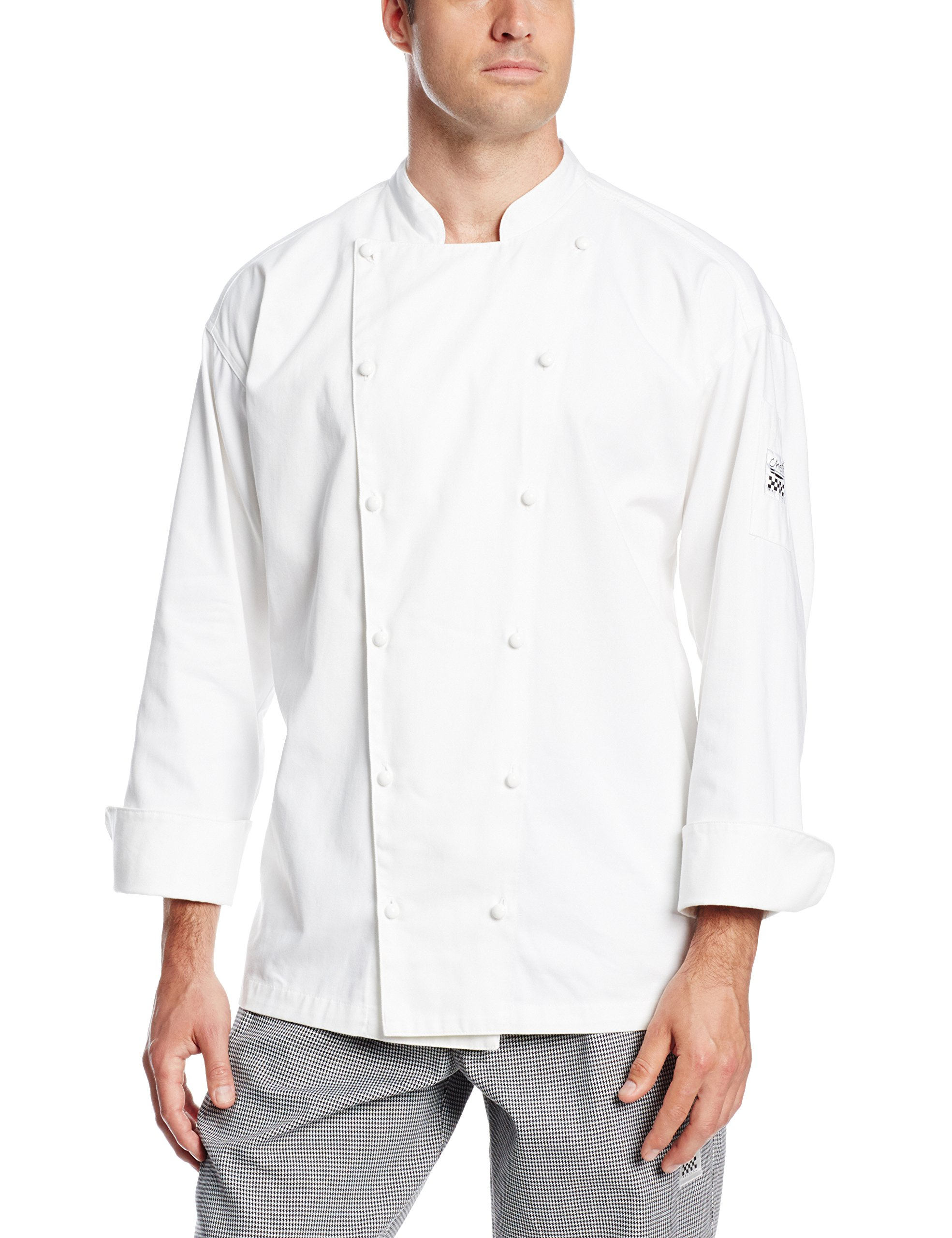 San Jamar J022 Cotton Classic Long Sleeve Chef Jacket with Push Through Button, 4X-Large, White