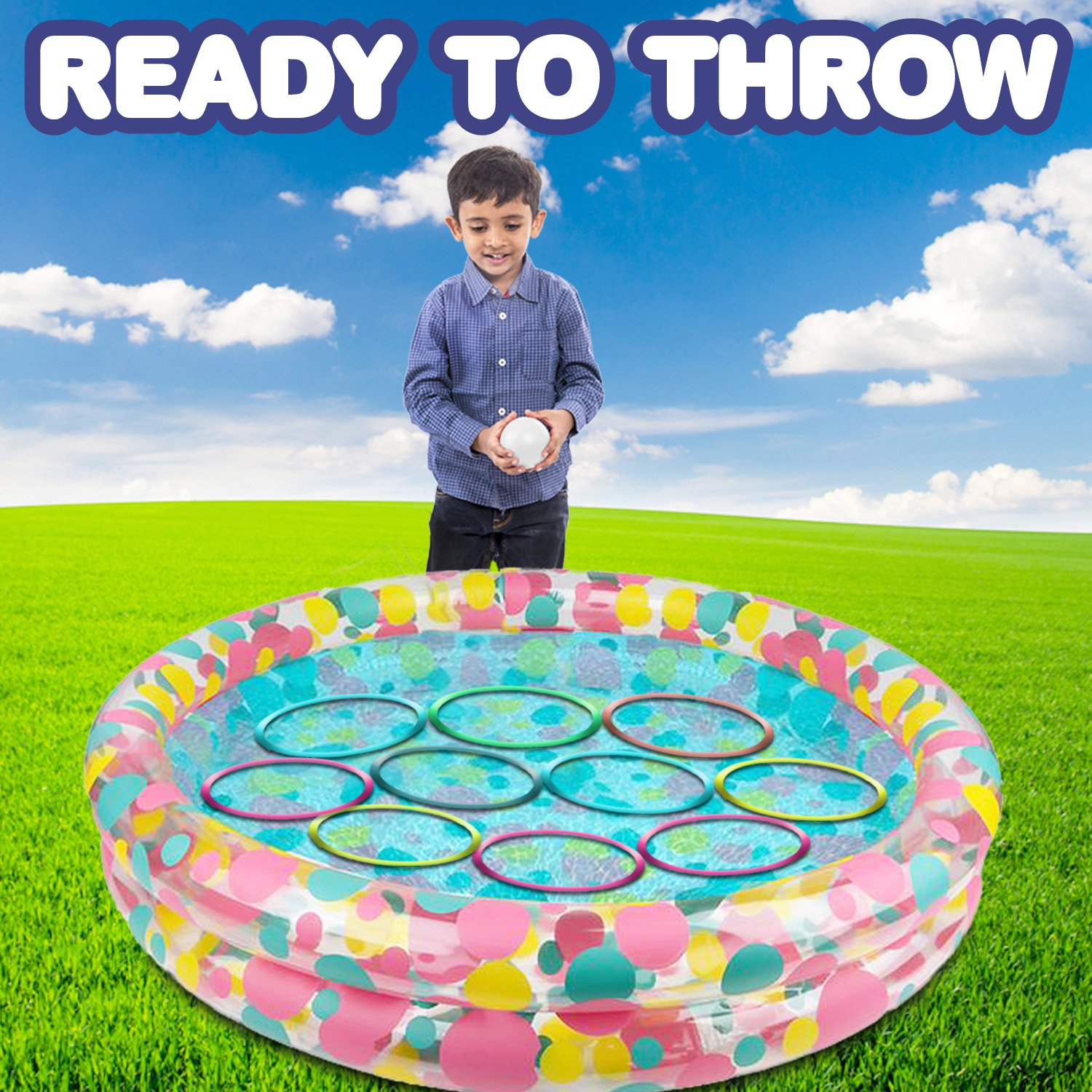 Best Lawn Yard Birthday Party Activity for Boys /& Girls GamieTM Includes an Inflatable Pool Gamie Water Ring Toss Game Super Fun Outdoor Games for Kids 12 Floating Rings /& 12 Plastic Balls