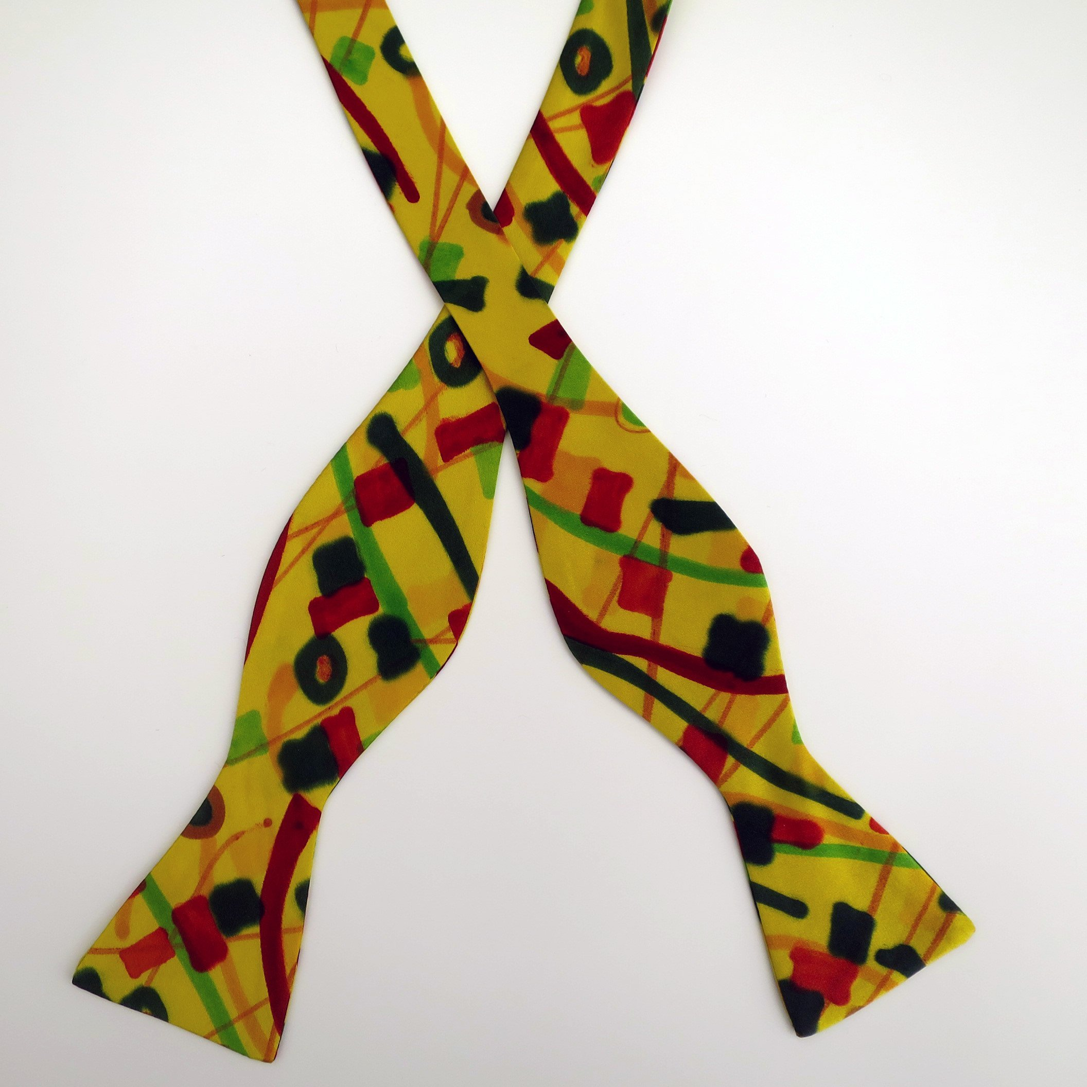 100% Silk Hand-Painted Hand-Made Men's Self Tie Bow Tie ''Tiffany'' Art to Wear by Murphyties