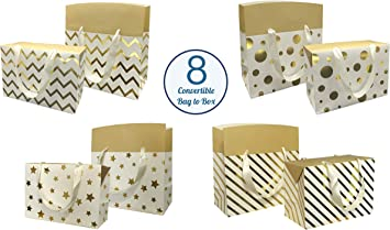 8 bolsas de regalo metálicas medianas - Oro Plata Negro - Caja de regalo convertible en bolsa de