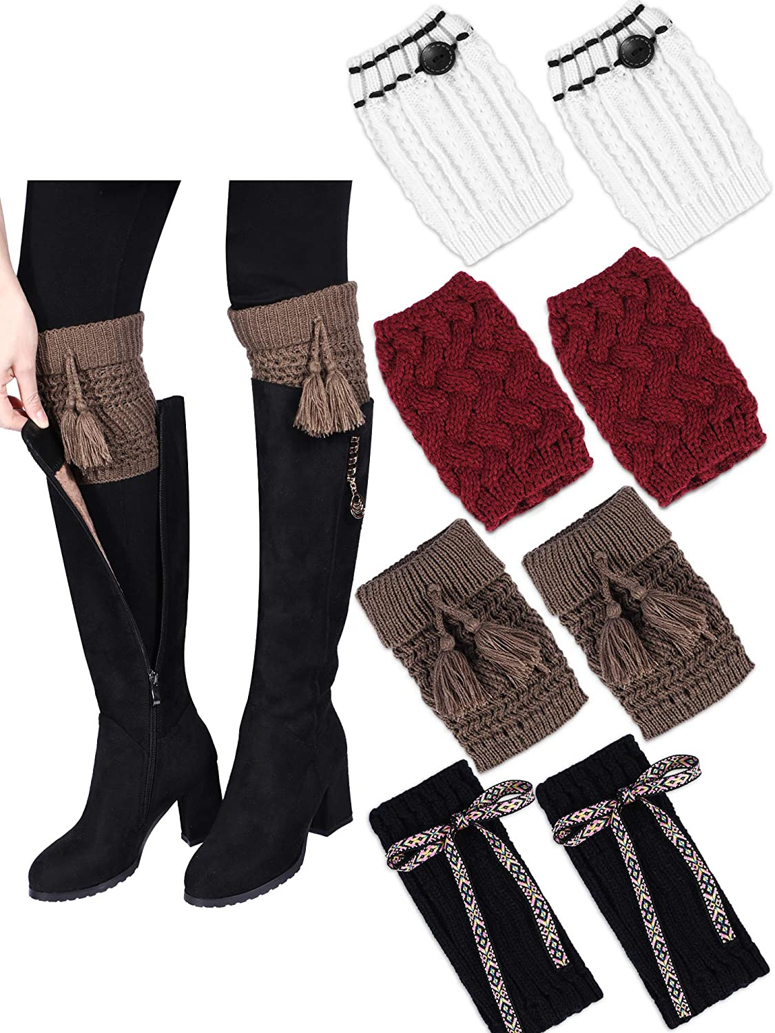 Tatuo 4 Pairs Winter Knitted Boot Socks Crochet Boot Cuffs Short Leg Warmers for Women Girls Daily Favors, Assorted Styles