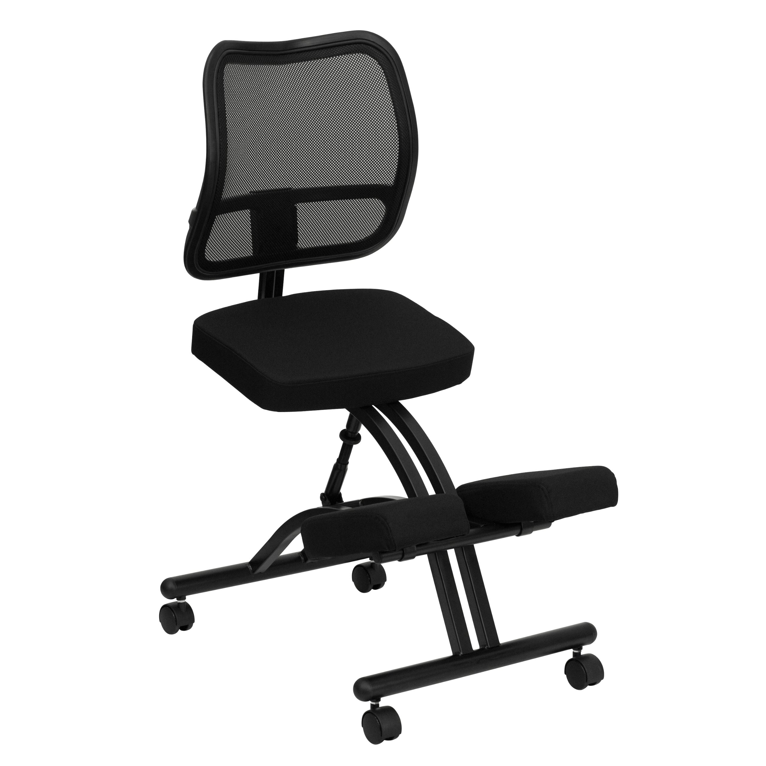 MFO Mobile Ergonomic Kneeling Chair with Black Curved Mesh Back and Fabric Seat