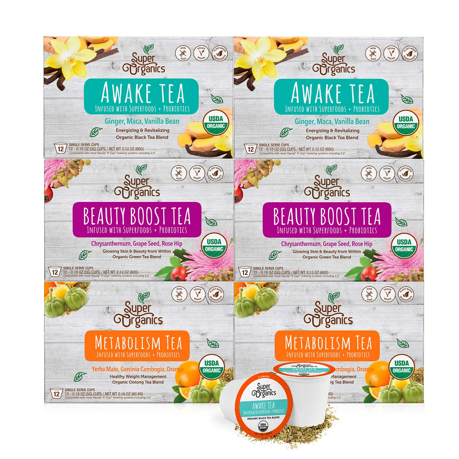 Super Organics Tea Variety Pack with Superfoods and Probiotics | Keurig K-Cup Compatible | Awake Tea, Metabolism Tea, Beauty Tea | USDA Certified Organic, Vegan, Non-GMO, 72ct