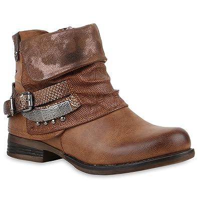 067e1b114e92 Stylische Damen Stiefeletten Stiefel Biker Boots Metallic Nieten Schuhe  121413 Braun Schnalle 36 Flandell