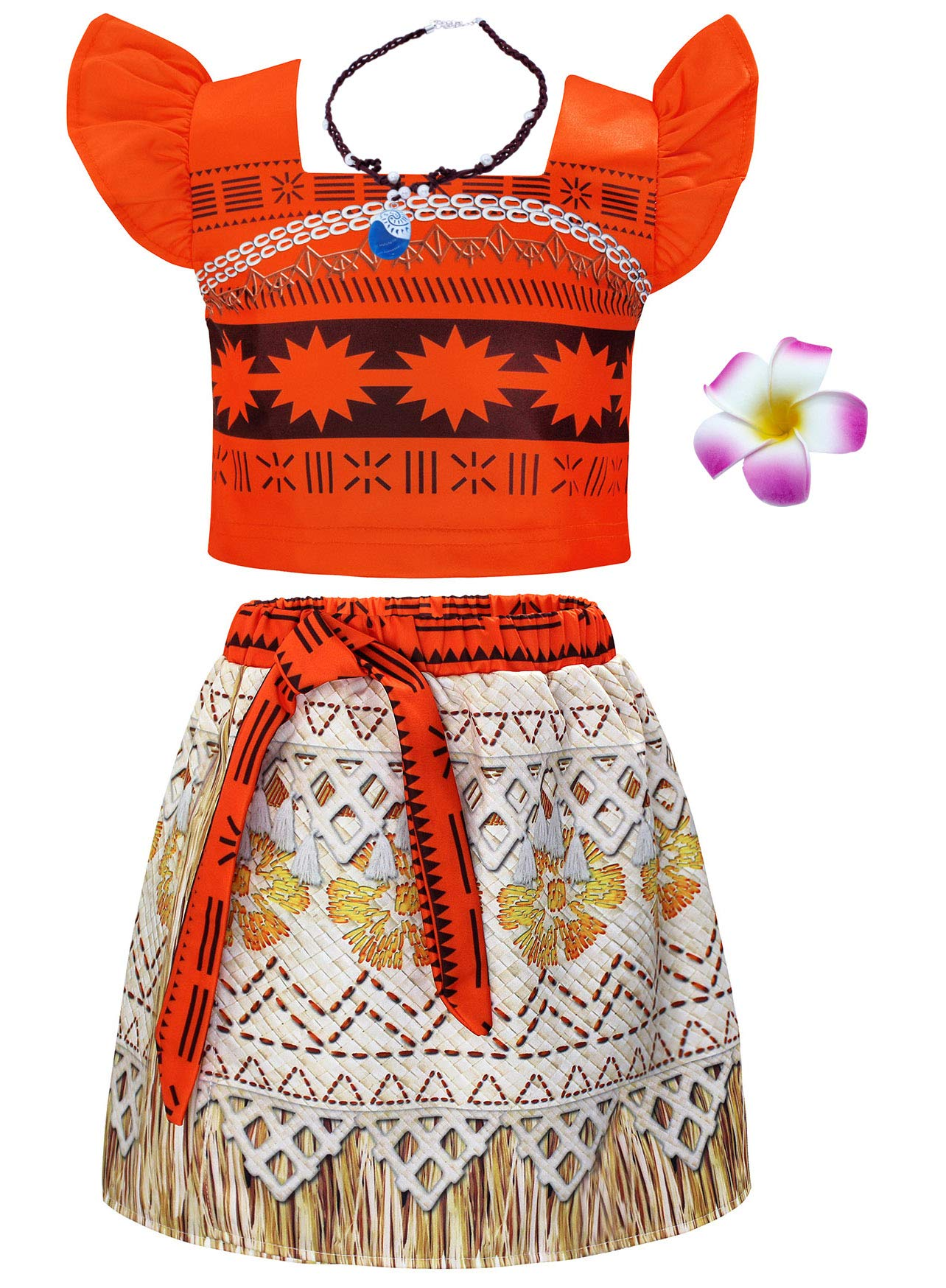 50ff8e6ab1df AmzBarley Moana Costume for Girls Dress up Toddler Baby Cosplay Outfit  Little Kids Skirt Sets