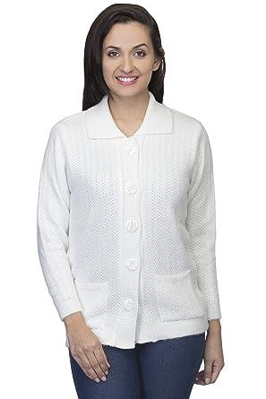 e1bcb89347b1 One Femme Women s Woollen Self-Design White Color Cardigan (OFCDF001 White  01 Medium)