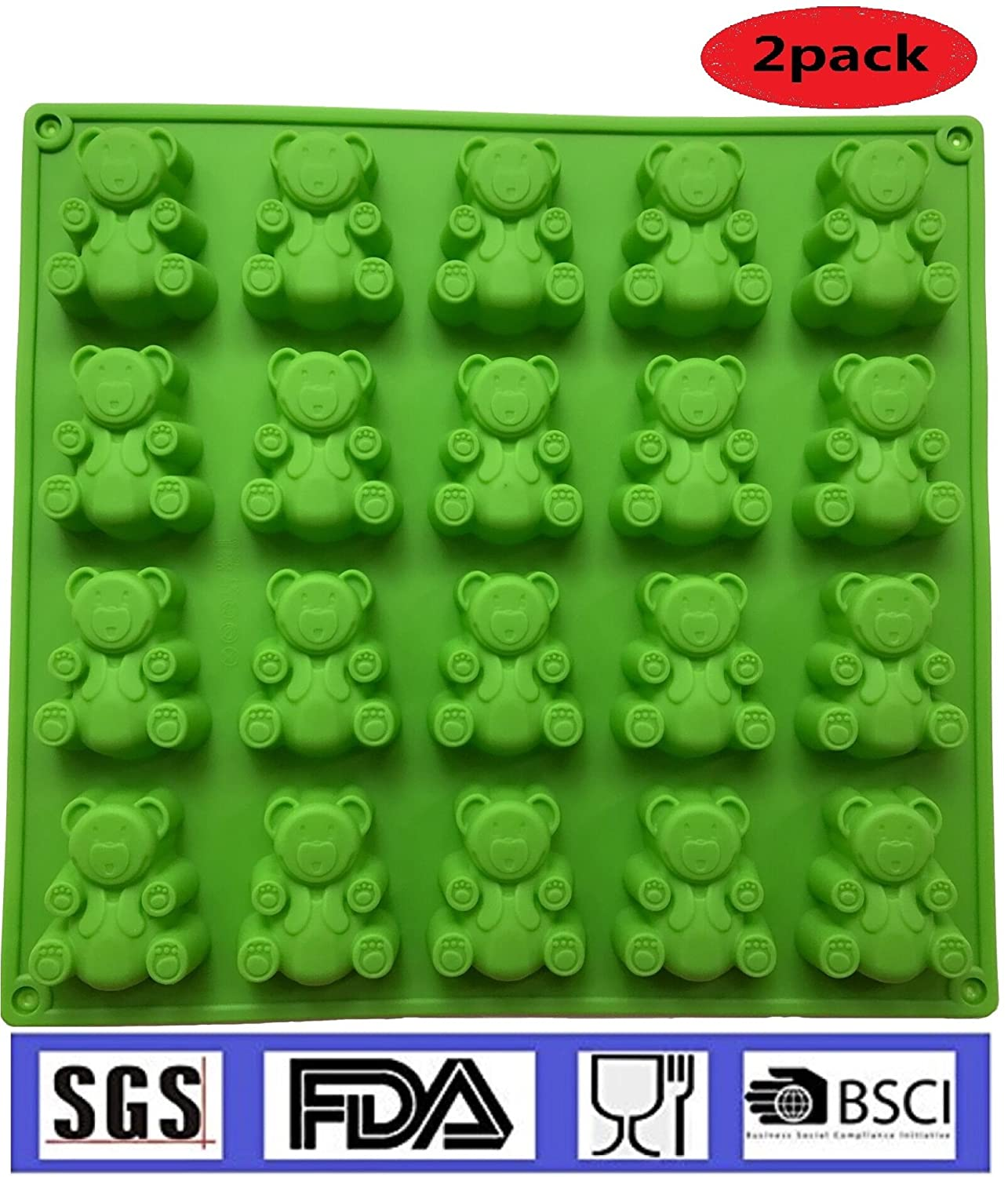 2-20 Cavity (40 Total Bears)JUMBO size Gummy bear Mold , Candy, Soap Molds, Jello Shots, Cupcake topper, Chocolate Making, Ice tray