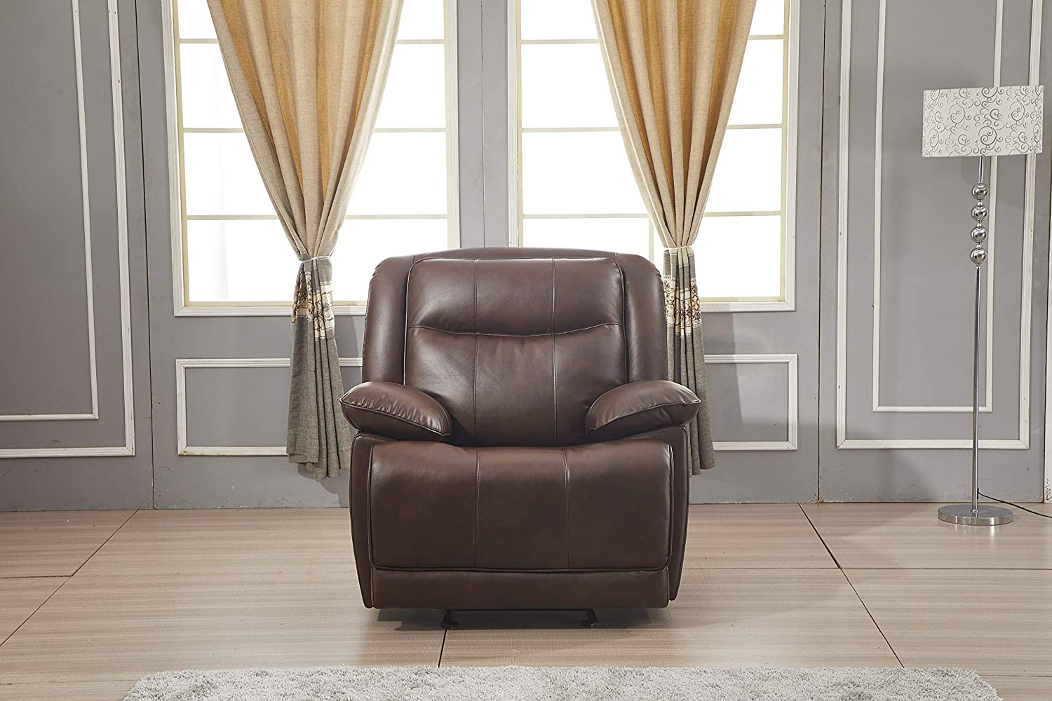 Betsy Furniture Bonded Leather Reclining Sofa Couch Set Living Room Set 8006 (Brown, Glider Chair)
