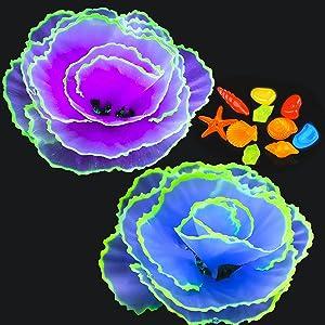 Livfodrm Glow Fish Tank Decorations Aquarium Decor Coral Ornaments, 2pcs Silicone Coral Flower Plants Glowing Effect and 10pcs Glow Random Color Sea Shells/Luminous Stone for Aquarium Decoration