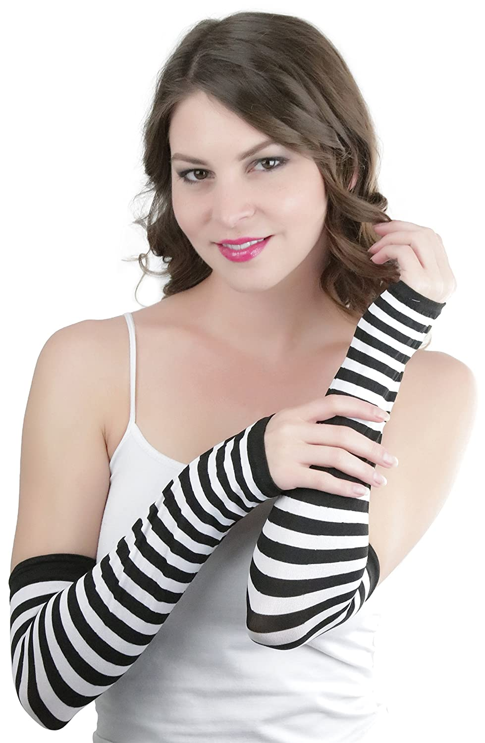 ToBeInStyle Women's Striped 100% Nylon Arm Length Warmers - Black with White Stripes _k_etwa_il2mhcsryol_ehi2b4