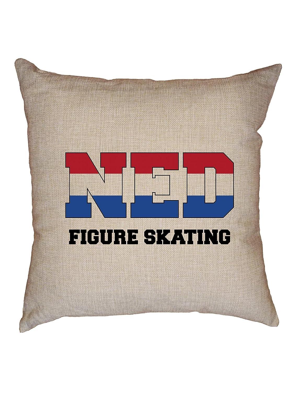 Hollywoodスレッドオランダ図スケート – Winter Olympic – Nedフラグ装飾リネンスロークッション枕ケースwith挿入   B07FMYJBW3
