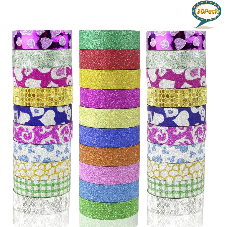 Buluri Washi Glitter Tape, 30 Glitter Sticker pour la décoration de Scrapbooking Bricolage Artisanat (30 Pack)