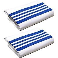 Luxury Flannel Blanket, Soft, Cozy, Comfortable Heavy Napping/Sleeping Bed Blanket, Lightweight (White Blue Stripe) Raymond Clarke