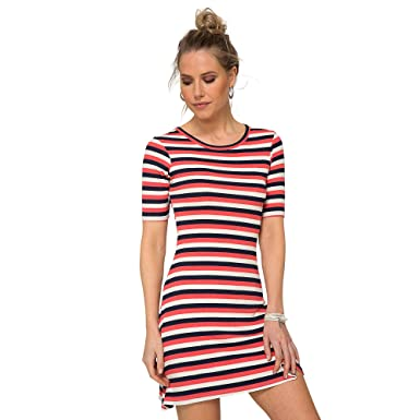 Women's Dress with Three-Toned Stripes in Rib Knit - 001359