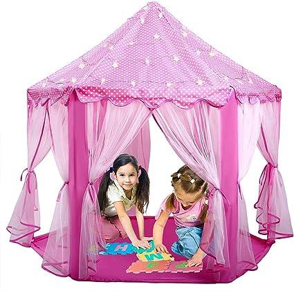 Princess Castle Children Portable Pop Up Play Tent Fairy House Pink Foldable