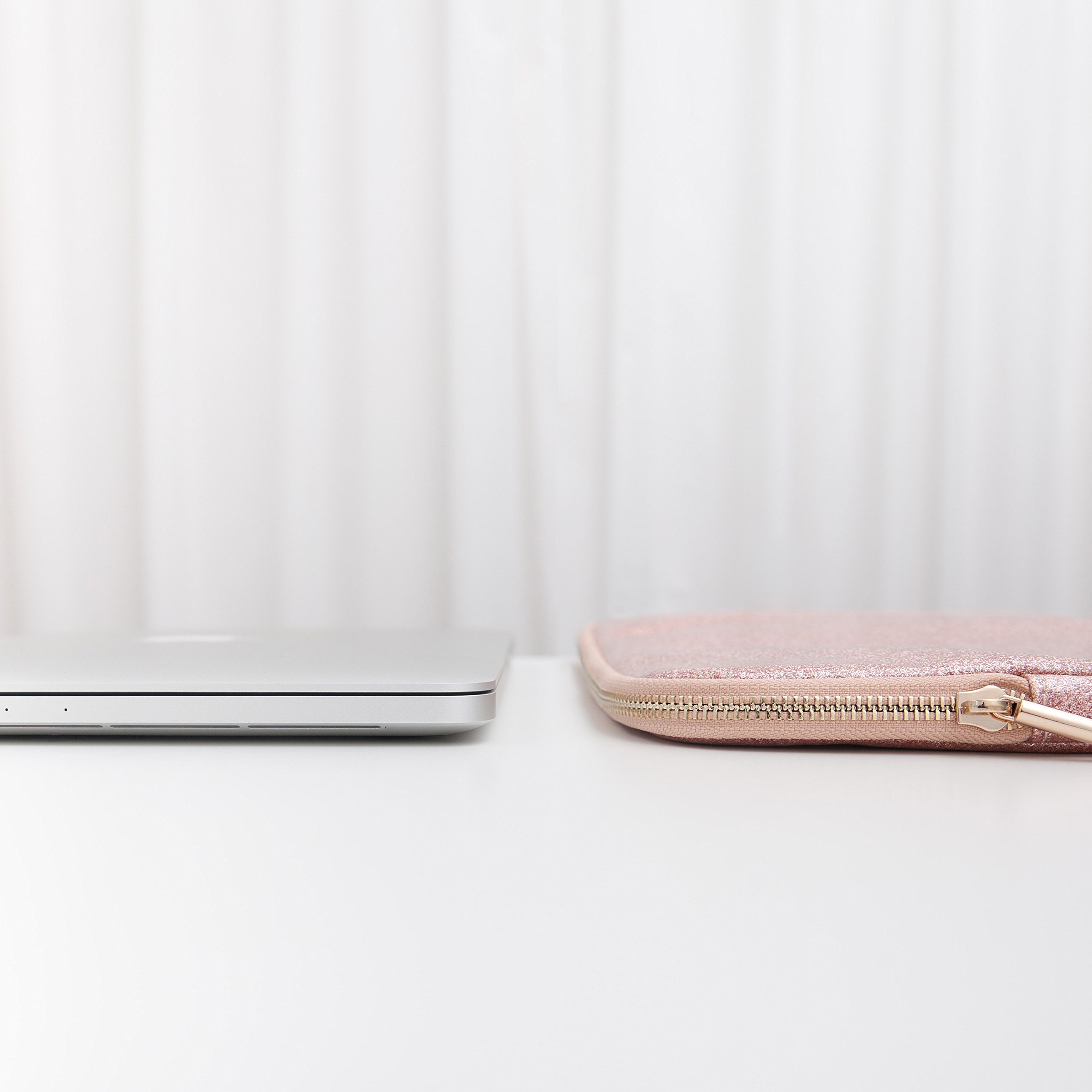 Comfyable Laptop Sleeve for MacBook Pro 13-13.3 Inch & Mac Air 13-13.3'', Notebook Computer Case w/Pocket- Waterproof & Soft Cover- Rose Gold Pink Glitter by Comfyable (Image #5)