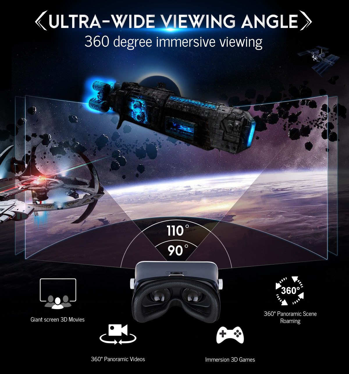 Pansonite 3D VR Glasses Virtual Reality Headset for Games & 3D Movies, Upgraded & Lightweight with Adjustable Pupil and Object Distance for IOS and Android Smartphone by Pansonite (Image #7)