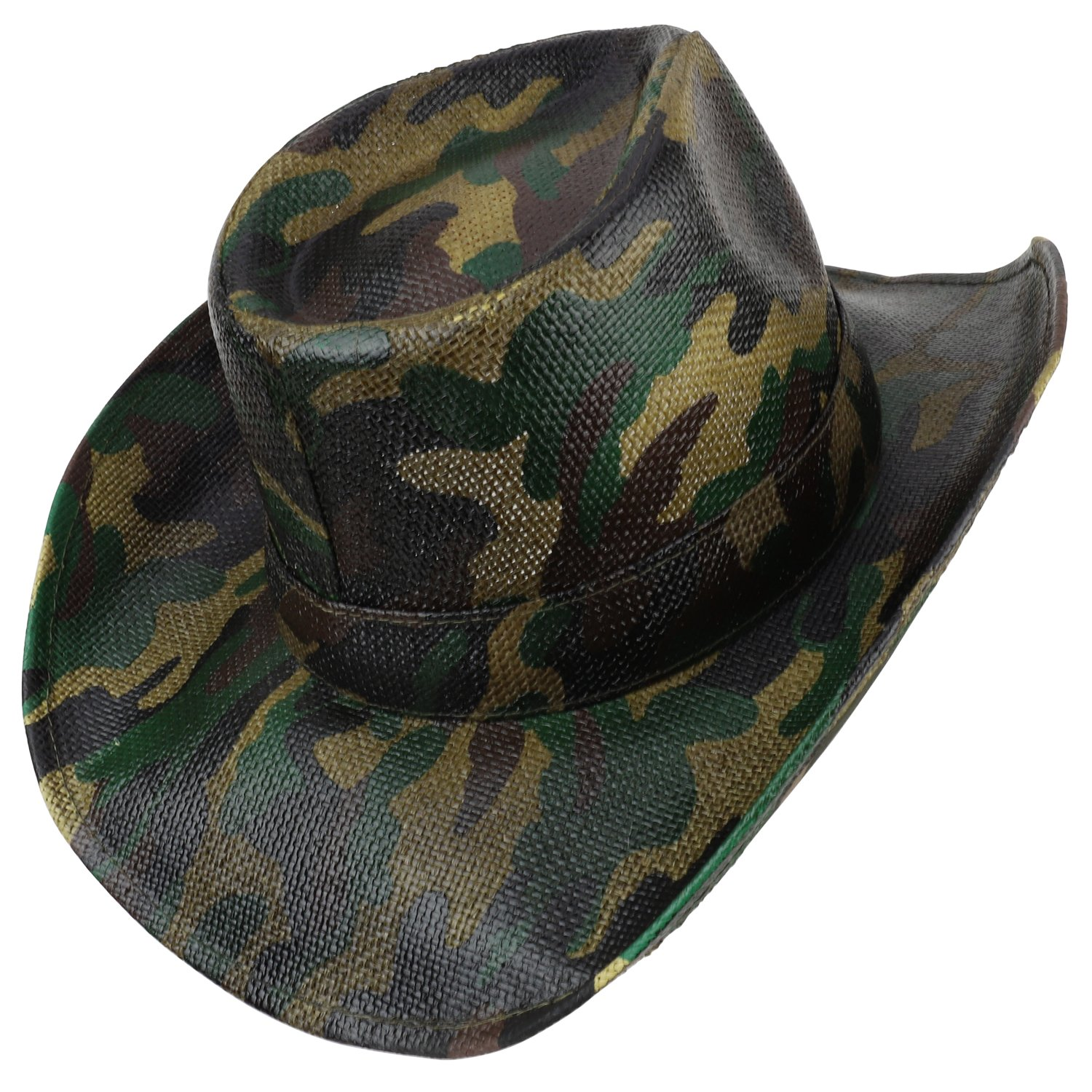 a090ec3ae82 Armycrew Woodland Camouflage Print Western Paper Straw Cowboy Hat - CAMO at  Amazon Men s Clothing store