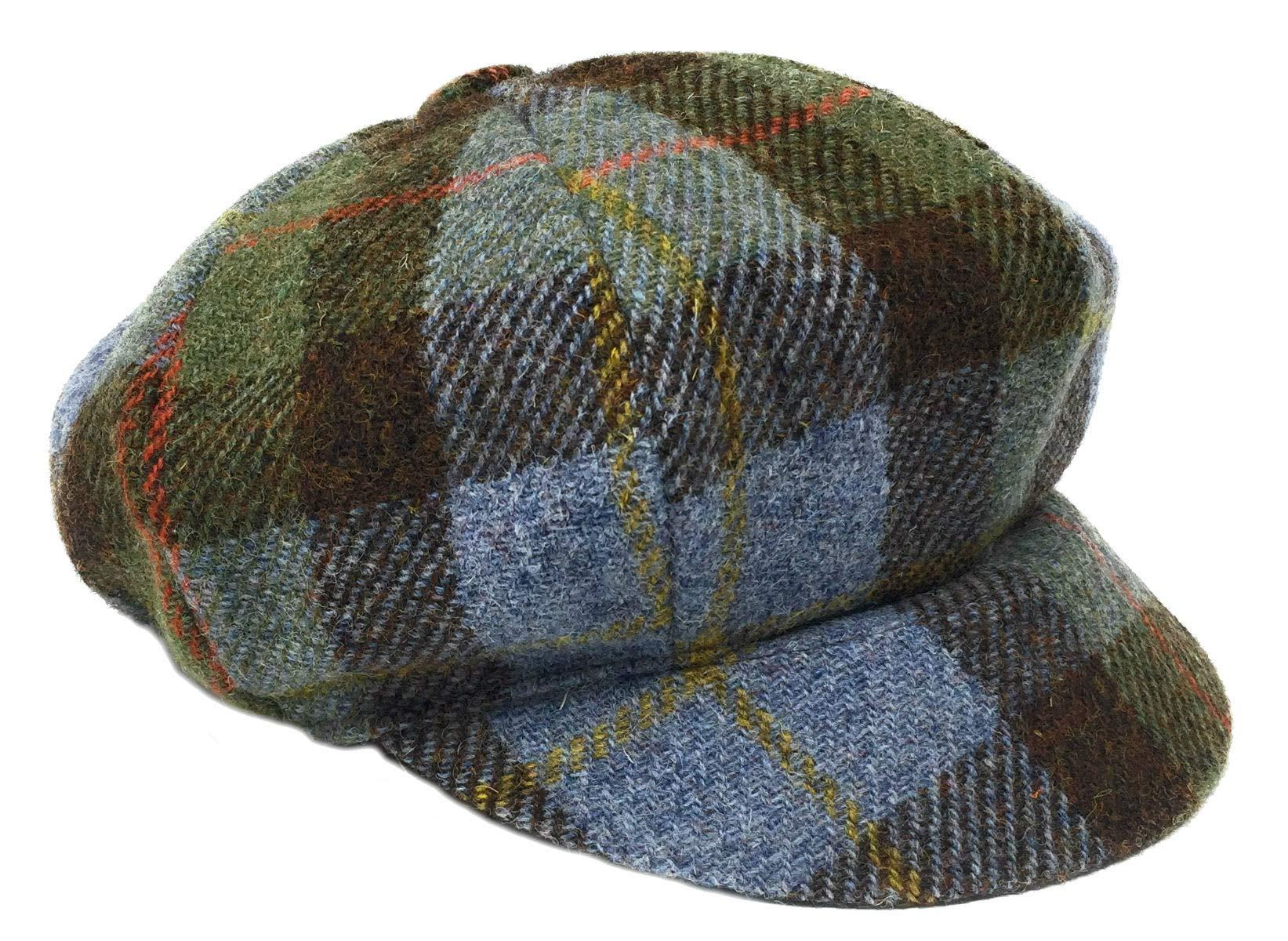 Harris Tweed Ladies One Size Baker Boy Style Hat in Blue
