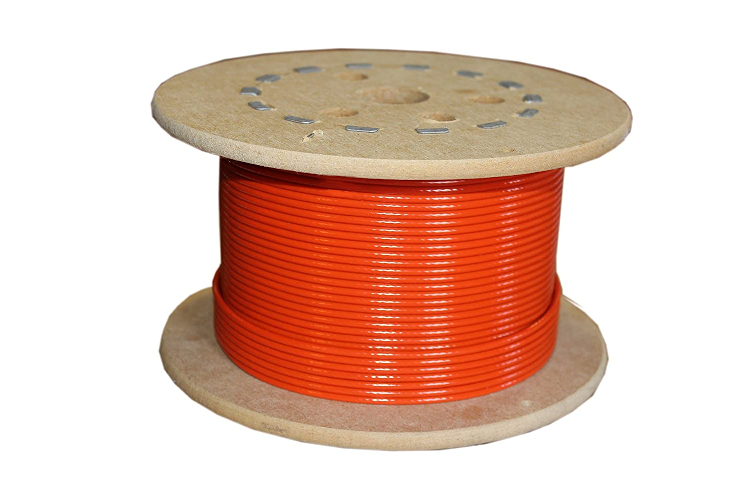 Nylon Coated 920 lbs Breaking Strength 3//32 Bare OD 25 Length Loos Galvanized Steel Wire Rope 1//8 Coated OD Orange 7x7 Strand Core
