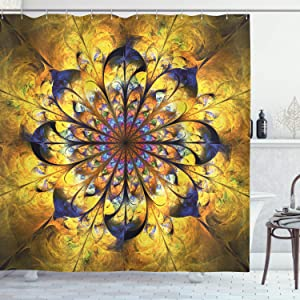 Ambesonne Yellow and Blue Shower Curtain, Mandala with Floral Ornamental Psychedelic Fantasy Rays Pattern, Cloth Fabric Bathroom Decor Set with Hooks, 84