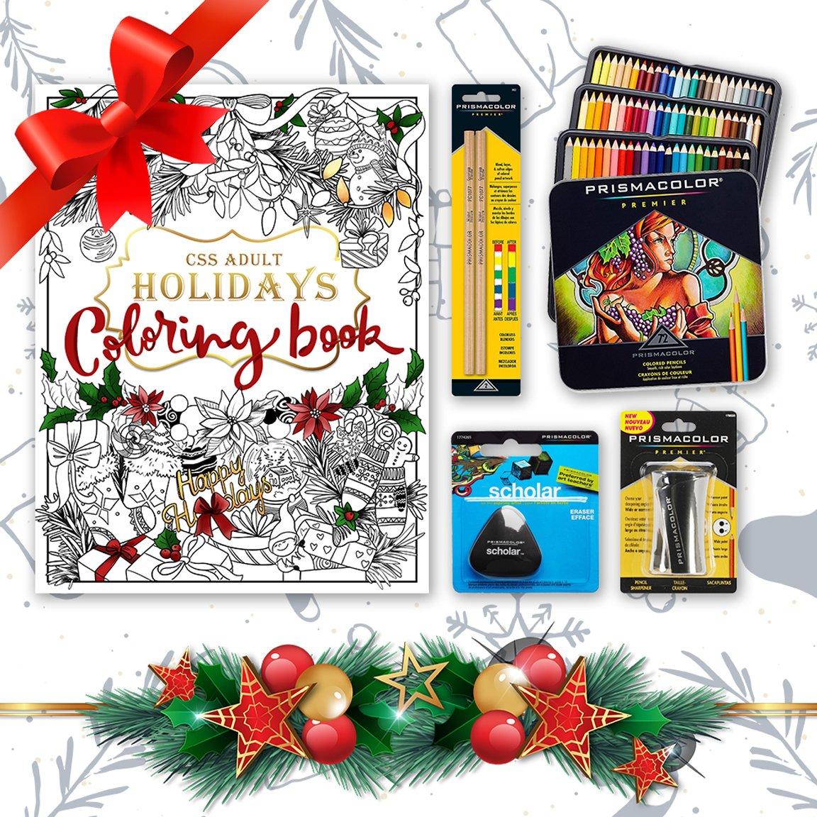 Prismacolor Bundle - 72-Count Colored Pencils, Triangular Scholar Pencil Eraser, Premier Pencil Sharpener, Colorless Blender Pencils, and CSS Adult Coloring Book