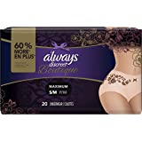 Always Discreet Boutique, Incontinence Underwear for Women, Maximum Protection, Peach, Small / Medium, 20 Count, Packaging May Vary