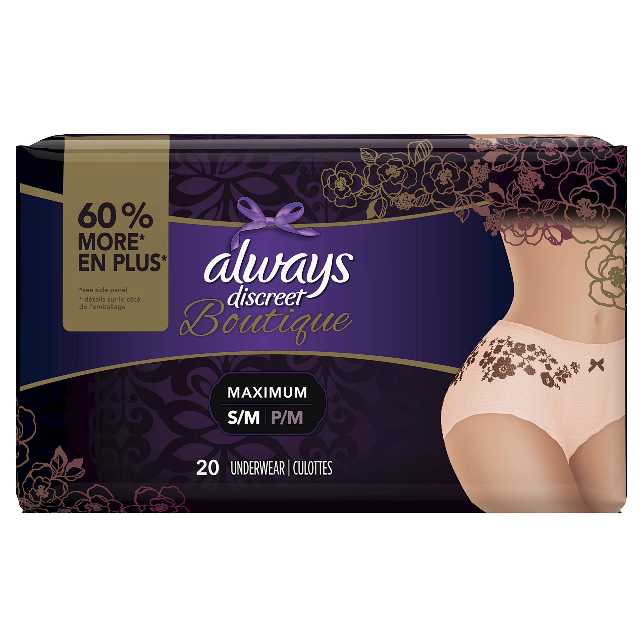 Always Discreet Boutique, Incontinence Underwear for Women, Maximum Protection, Peach, Small /
