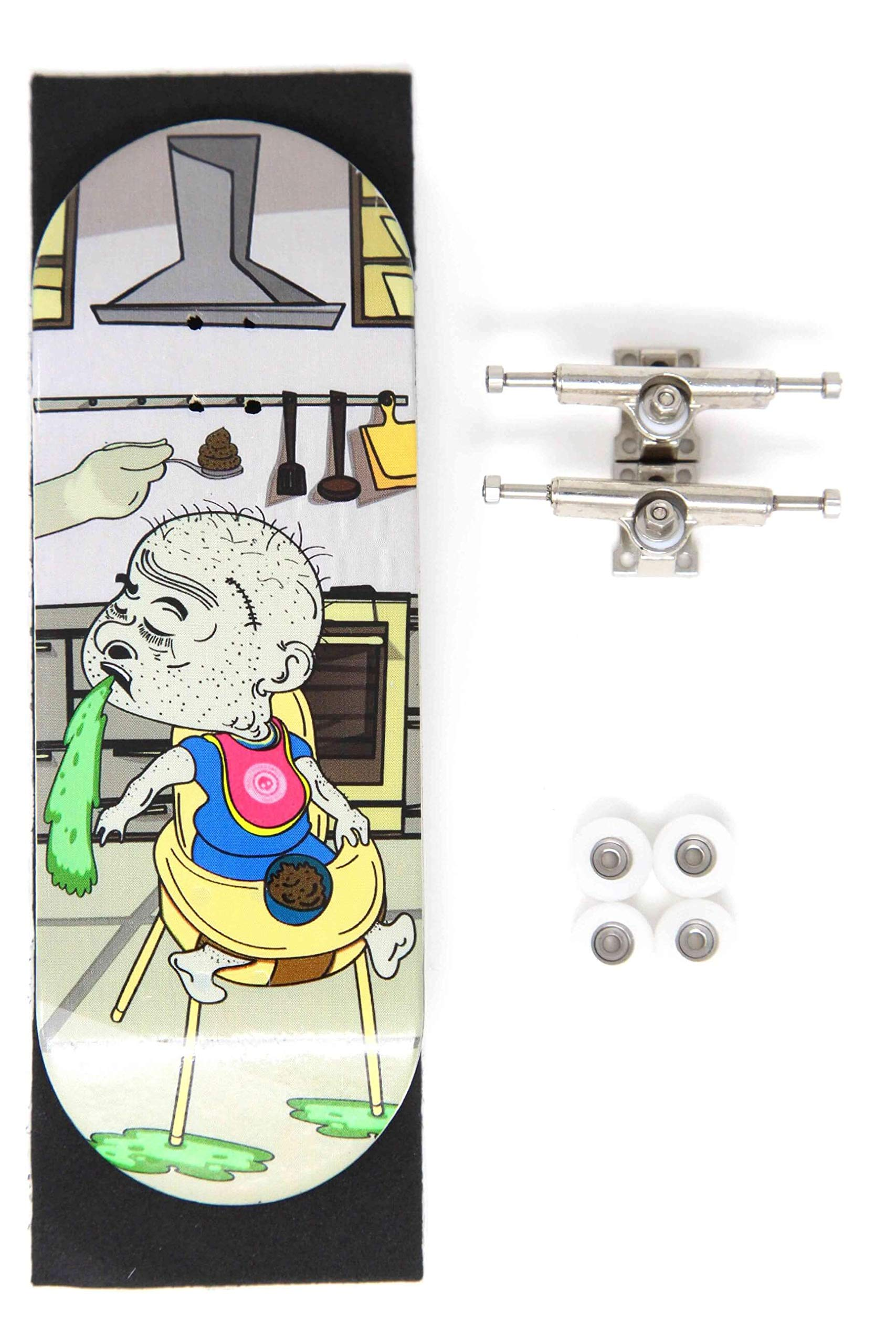 Skull Fingerboards Feed Me 34mm Complete Professional Wooden Fingerboard Mini Skateboard 5 PLY with CNC Bearing Wheels