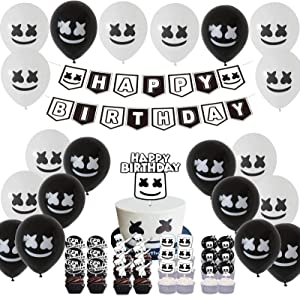 Marshmallow DJ Decoration Set for Kids Birthday Party Marshmellow Birthday Party Banner Marshmellow Dj Rock Video Game Latex Balloon and Marshmellow Cupcake Topper Kit for Baby kids Adult