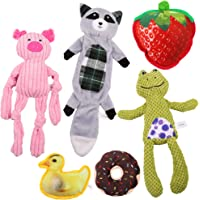 6 PCS Dog Squeaky Toys One Crinkle No Stuffing Dog Toy and Five Soft Stuffed Dog Plush Toy, Durable Dog Chew Toy Set for…