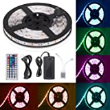 Sunnest 16.4ft LED Flexible Strip Lights, 300 Units SMD 5050 LEDs, 12V DC Waterproof Light Strips, RGB LED Light Strip Kit with 44Key Remote Controller and Power Supply for Kitchen Bedroom Car Party