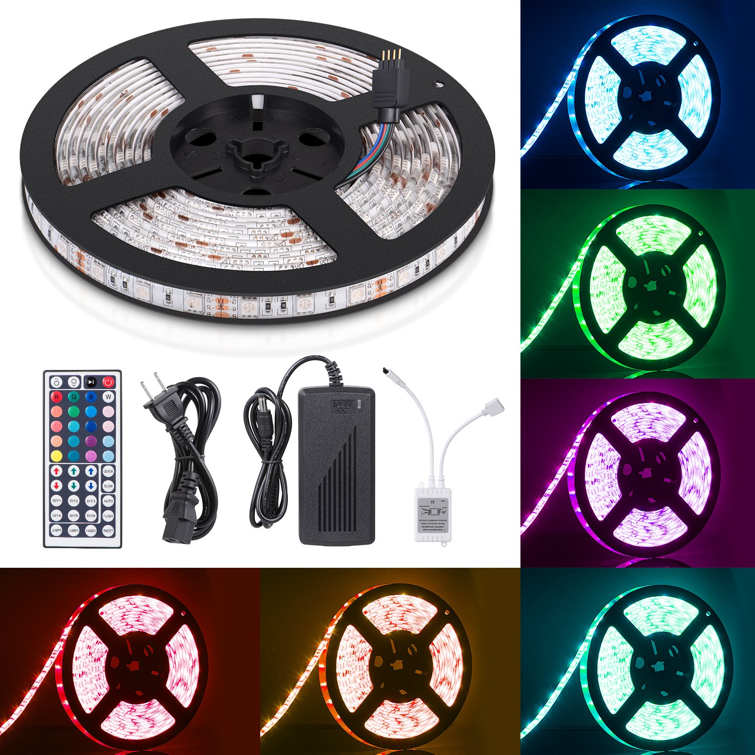 Sunnest 16.4ft LED Flexible Strip Lights 300 Units SMD 5050 LEDs 12V DC Waterproof Light Strips RGB LED Light Strip Kit with 44Key Remote Controller and Power Supply for Kitchen Bedroom Car Party