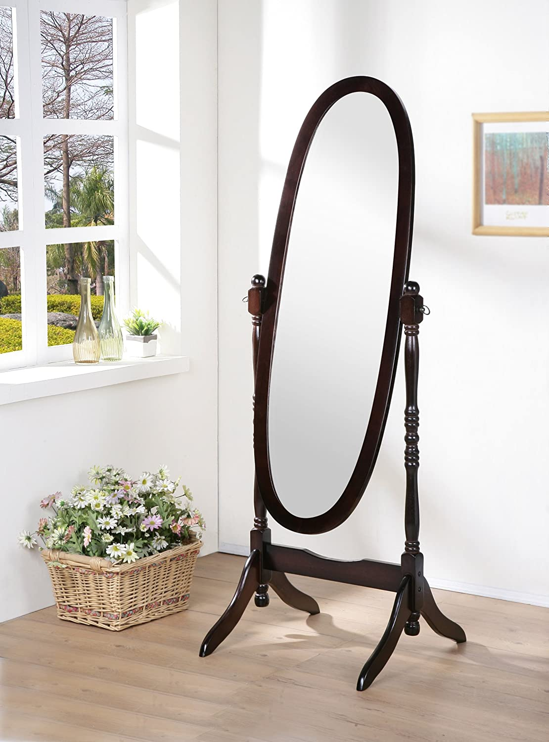 Wooden Cheval Floor Mirror, Espresso Finish eHomeProducts