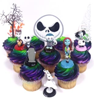 nightmare before christmas 10 piece deluxe cupcake topper set featuring zero barrel lock