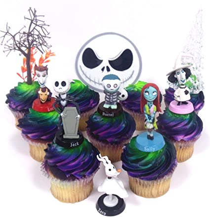 Nightmare Before Christmas 10 Piece Deluxe Cupcake Topper Set Featuring Zero Barrel Lock Shock Sally Jack Skellington And Other Decorative Themed