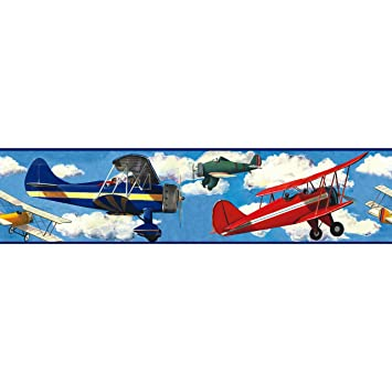 RoomMates Repositionable Childrens Wall Sticker Border Vintage Planes Part 91