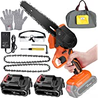 6 Inch Mini Chainsaw Cordless Power Battery Chain Saws One-Hand Operated Portable Wood Saw for Farming Tree Limbs Garden…